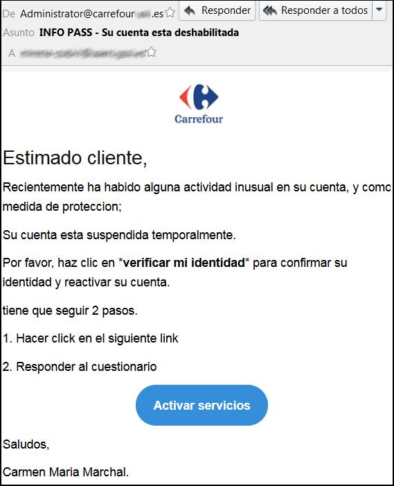 Phishing CarrefourPass