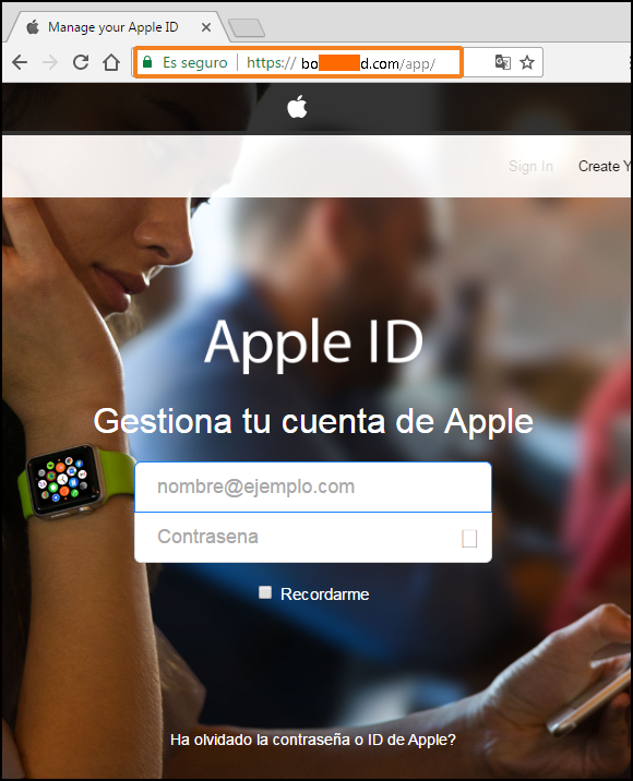 Pagina no legitima de APPLE